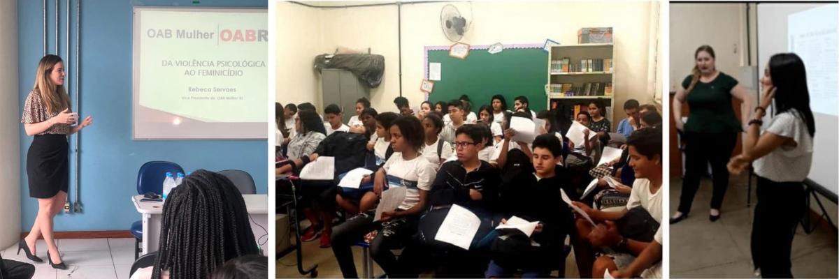 Rebeca Servaes (na foto à esq.) e mais integrantes da Seccional no projeto OAB Mulher Vai à Escola / Acervo pessoal