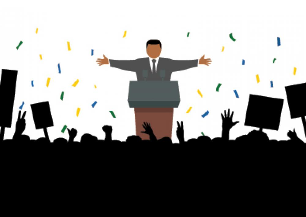 Na imagem, desenho de candidato aclamado pelo publico. Conteúdo sobre eleições 2020.