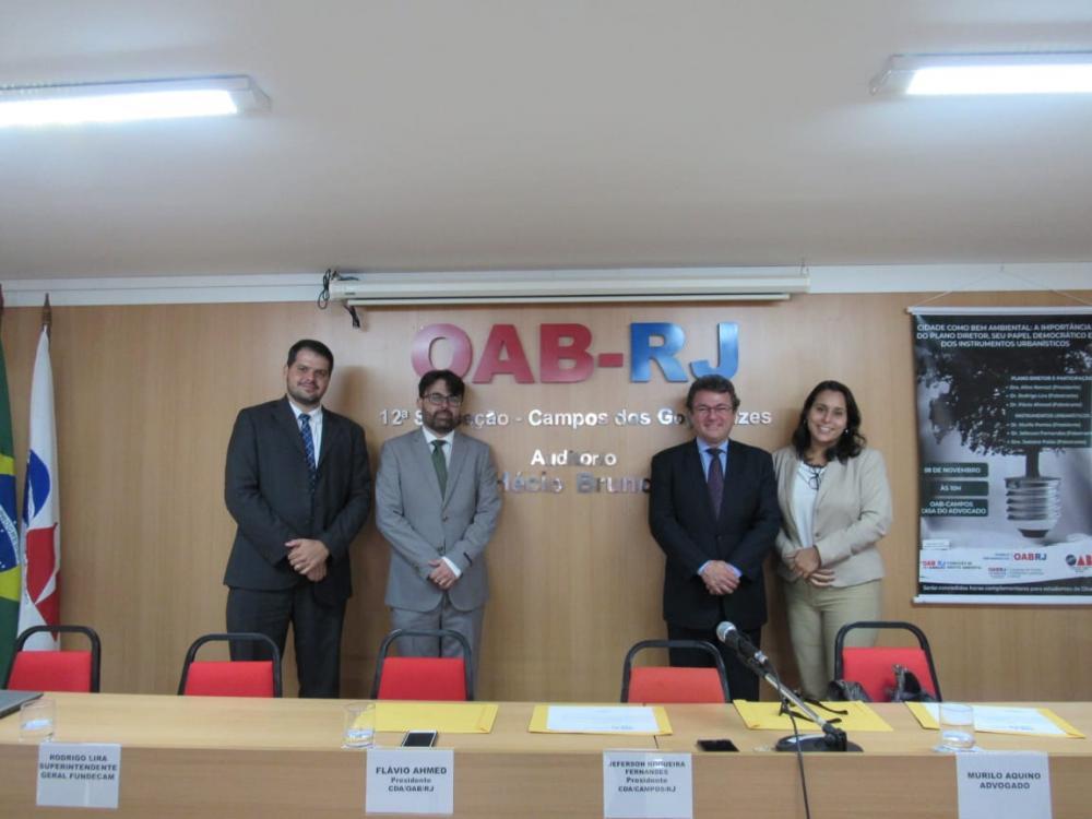 Ahmed com os presidentes das comissões de Direito Ambiental das subseções de Campos, Macaé e São Fidélis / / Foto: Arquivo pessoal