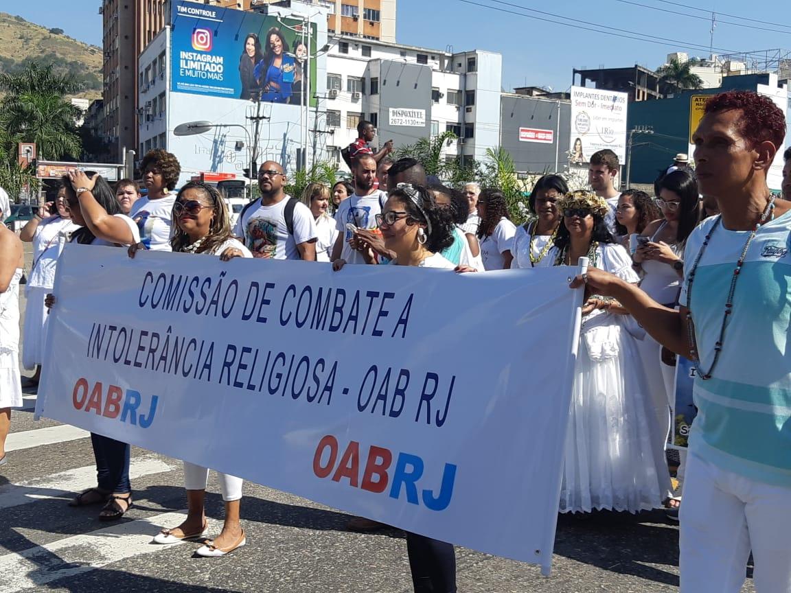 Comissão na I Caminhada contra a Intolerância Religiosa da Baixada, em julho / Foto: Arquivo pessoal